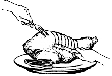 2.) Turn the roast up on the base, and starting at the shank end, make slices perpendicular to the leg bone as shown in the illustration.